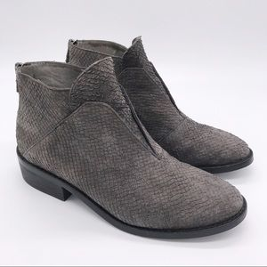EILEEN FISHER Grey Embossed Suede Leather Booties